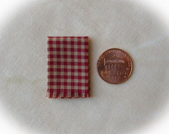 Miniature woven kitchen towel - red gingham, 1:12 scale