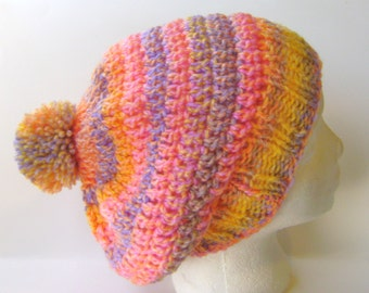 Slouchy Chunky Hat, Beret for Women in Pink, Yellow, Purple, and Melon Variegated Stripes Beanie