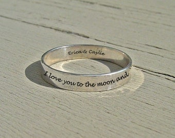 Quote ring, I love you to the moon and back, best friends ring, 3.5 mm personalized ring, secret message ring, personalized quote, pinkie