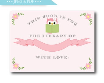 Pink Owl Story Book Stock the Library Book Plate Sticker Label - INSTANT DOWNLOAD