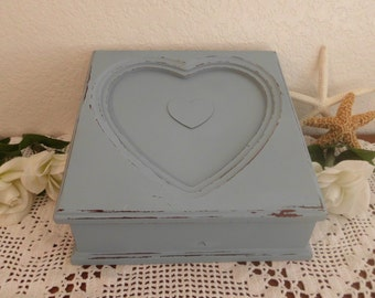 Blue Grey Jewelry Box Rustic Shabby Chic Distressed Heart Organizer Beach Cottage French Country Home Decor Birthday Christmas Gift For Her