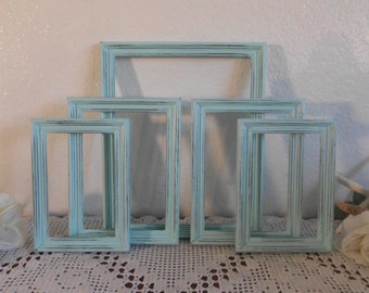 Mint Blue Green Picture Frame Set Rustic Distressed Photo Wall Gallery Collection Pastel Shabby Chic Cottage Home Decor Wedding Decoration