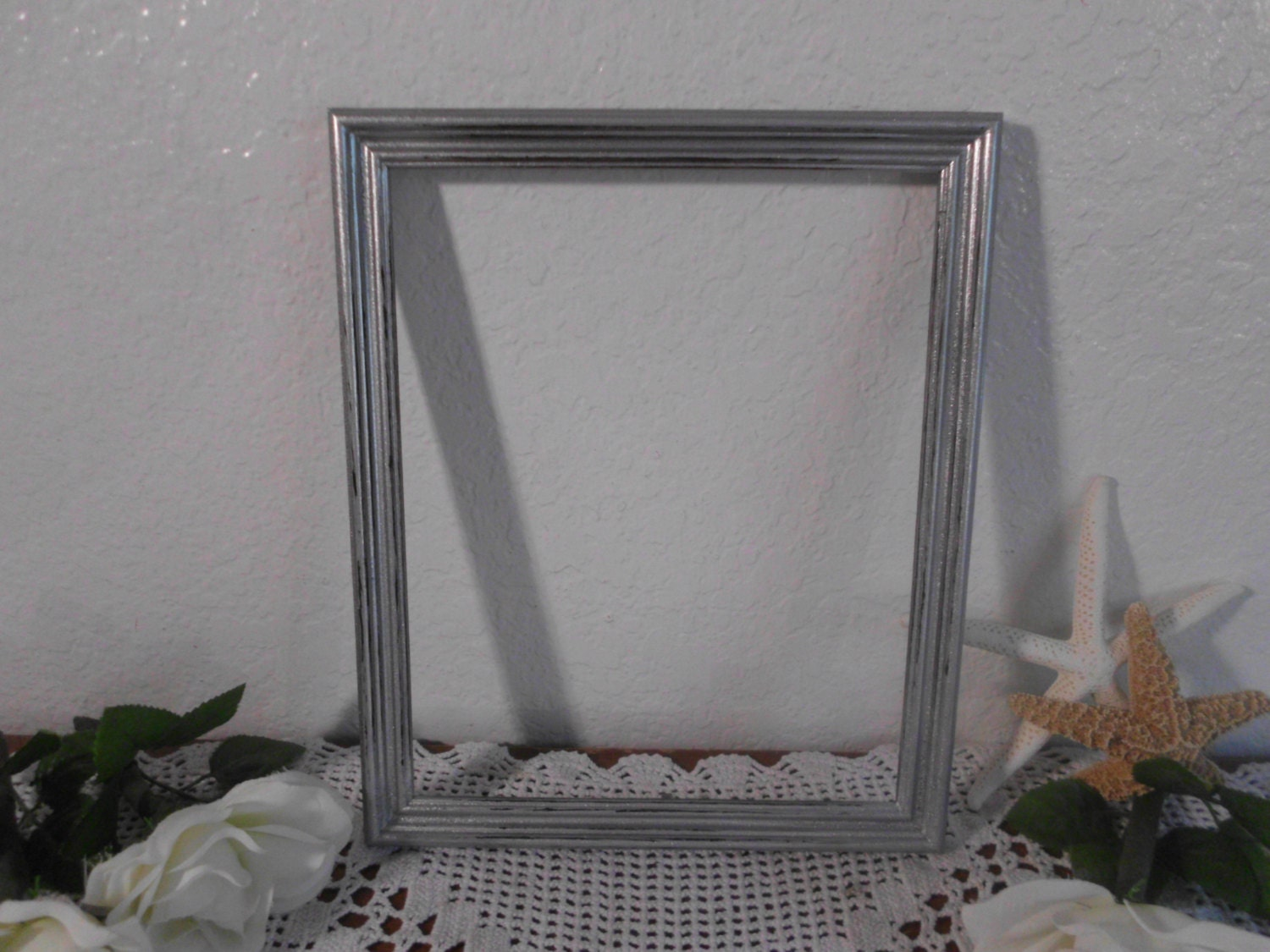 silver glitter picture frame 8 x 10 shabby chic distressed. Black Bedroom Furniture Sets. Home Design Ideas