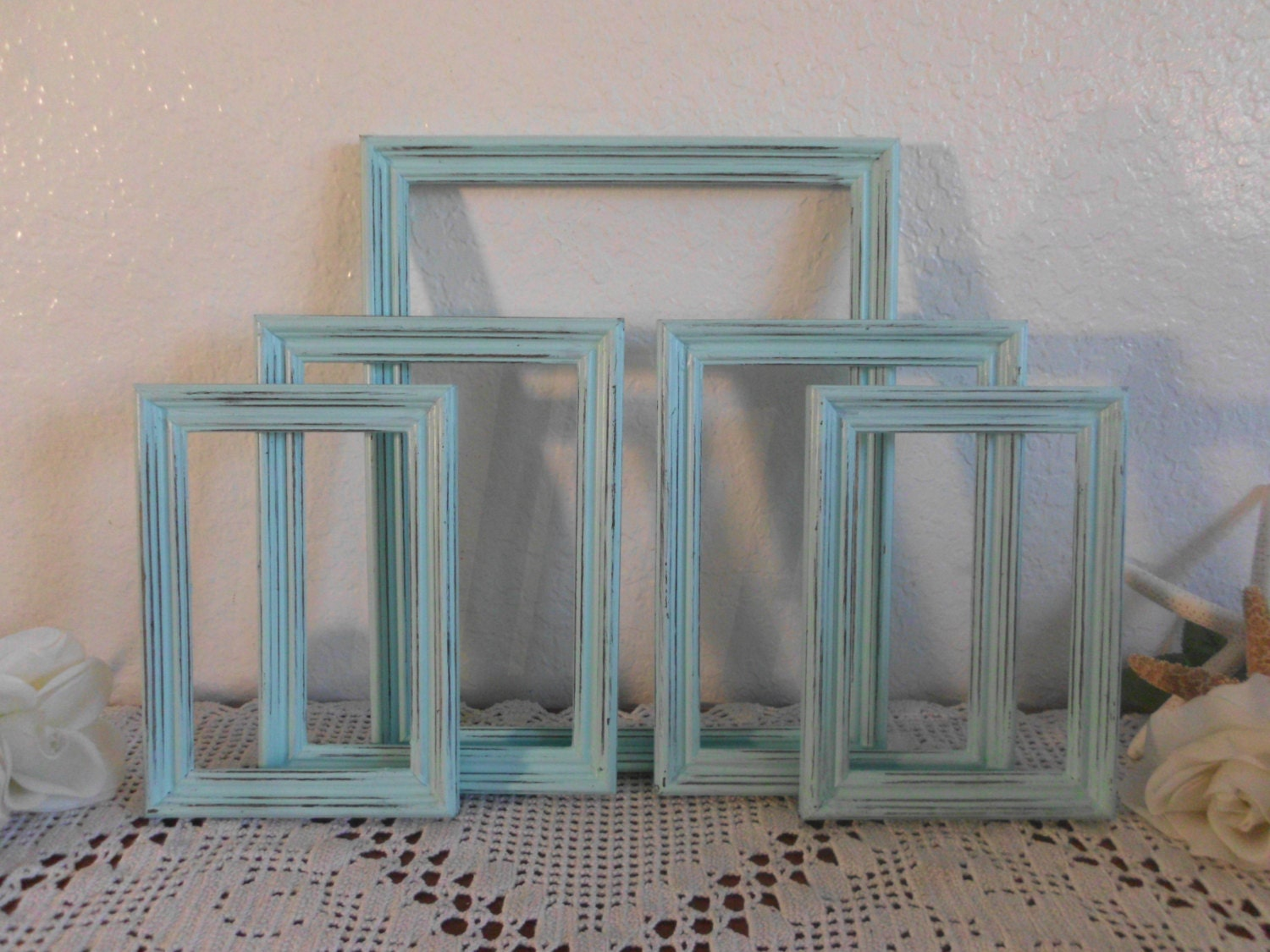 mint blue green picture frame set rustic distressed photo wall. Black Bedroom Furniture Sets. Home Design Ideas