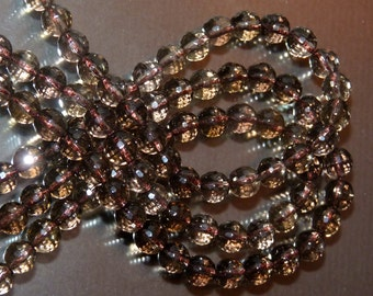 6 mm round faceted smokey quartz crystal beads