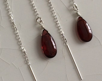 Free Shipping - Sterling Silver & Smooth AAA Mozambique Garnet Pear/Briolette Drop Ear Thread/Threader Earrings
