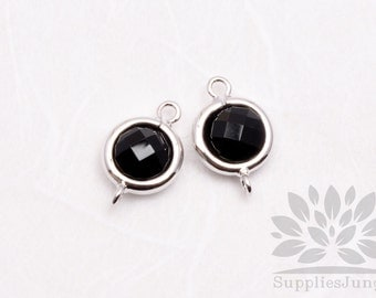 F124-S-BL// Rhodium Plated Black Rounded Glass Pendant Connector, 2 pcs