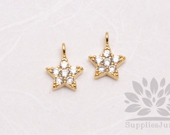 P611-G// Gold Plated 8mm Cubic Star Pendant, 2 pcs