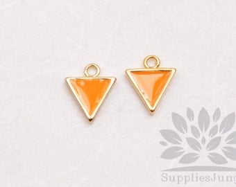 P618-02-G-OR// Gold Plated 8mm Orange Epoxy Triangle Pendant, 2 pcs