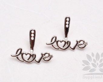 E242-R// Rhodium Plated Love Cubic Earring Component,  pcs