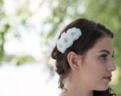 Sample sale Vintage inspired  white organza lace flower bridalheadpiece