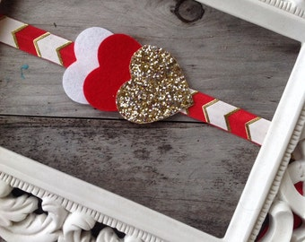 SALE Red Gold and White Chevron Headband Glitter Heart Headband Baby Girl Headbands Photo Prop Newborn Headbands Girls Headband Valentines D