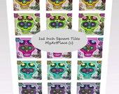 Collage Sheets Sugar Skulls, Skull Printables, Clip Art Skulls,  Square Skulls, Day of Dead Skulls, Digital Download Skulls, 1x1 Inch Skulls
