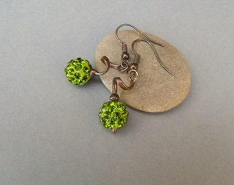 Wire jewelry, green shamballa beads, copper wire earrings, best friend gift, bohemian earrings, funky earrings, contemporary jewelry