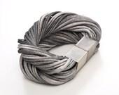Ombre bracelet, wrap bracelet, fabric bracelet, fabric cuff, strands wrap bracelet, grey jersey bracelet