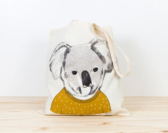 Koala Tote bag, screen printed canvas tote, koala organic canvas tote, animal art, australia, depeapa, illustration, perfect for gift