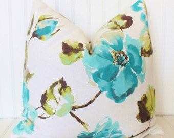 Blue Floral Pillow, Blue Throw Pillow, Decorative Pillow Cover, Accent Pillow, Cushion, Cushion Cover, Turquoise Floral Pillow