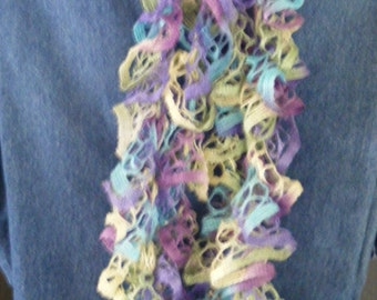 Great Color in Crocheted Ruffle Scarf in  Wild Hydrangeas Yarn