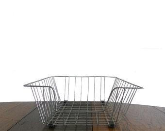 Vintage Industrial Wire Basket Large - Mid Century - Organizer - Storage