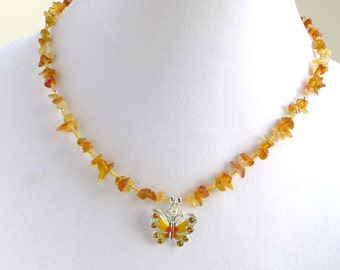 SUNNY BUTTERFLY- Beaded Necklace- Butterfly Charm/ Chip Beads- Magnetic Clasp