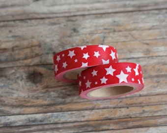 Japanese Washi Tape - Masking Tape roll in White Stars on Red Tape