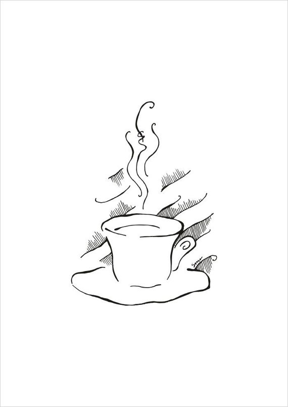 Line Art Etsy : Coffee illustration black and white line art for by siret
