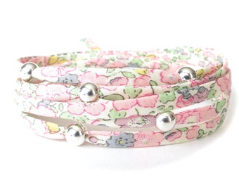 Coworker gift idea, Liberty fabric bracelet in dreamy pastels, wrap bracelet with 5x seamless silver beads, cute gift for best friend