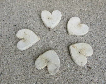 Lot of 5 Matching Driftwood Hearts Lake Michigan Wood Craft Supplies