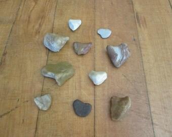10 Natural Beach Stone Hearts Lake Michigan Craft Supplies