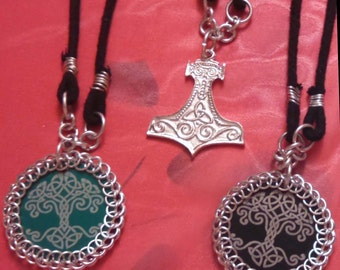 Thor's Hammer Pendant & Tree of Life Medallion Necklaces, Pin, Barrette, or Fridge Magnets