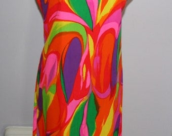Vintage Dress 60s 70s Hand Made Colorful Fashion