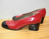 Sz 6m YSL Vintage Red Black Leather Shoes WOMEN