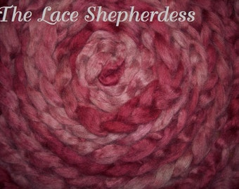 "Hand dyed Coopworth Wool Pin Draft Roving.  6.6 oz.""Rose Memory"""
