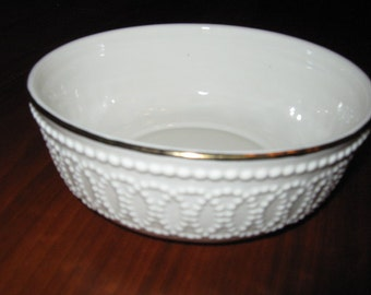 Small Lenox China Ivory and Gold Beaded Bowl