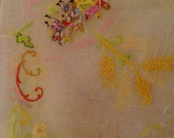 70s hand embroidered Italian fabric piece