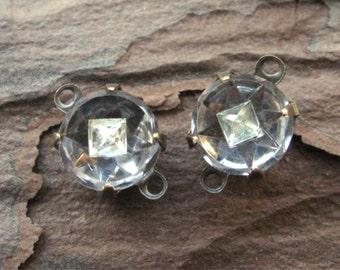 Vintage Crystal Glass Round Rhinestones w/ Inset Diamond Shape Stones in Oxidized Brass Settings 2 Loop (2)