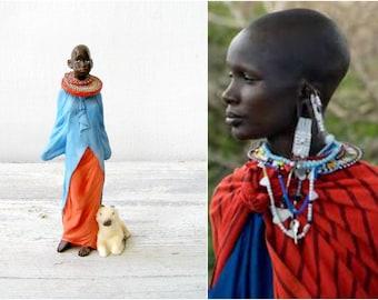 Masai Woman Figurine, Tribal Woman Miniature, Masai girl MRH Sculpture, Primitive Culture Art, Colorful Art, Feminine Art, Woman Tribe Life