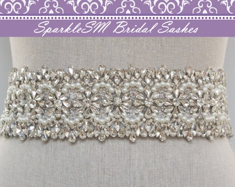 Rhinestone Bridal Sash, Rhinestone and Crystal Wedding Belt, Rhinestone Pearls Satin Sash, Jeweled Beaded Sash, Bridal Accessories - Avery