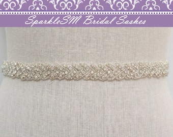 Crystal Bridal Belt, Thin Bridal Belt, Bridal Sash, Bridal Belt, Crystal Belt, Bridesmaids Sash, Jeweled Sash, Prom Sash, Rhinestone Belt