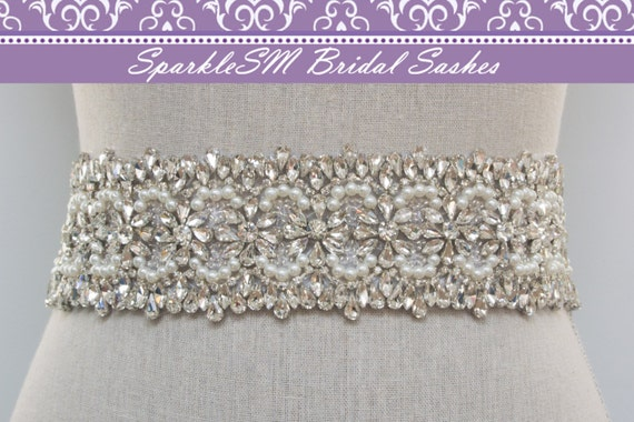 Rhinestone Bridal Sash, Rhinestone and Crystal Wedding Belt, Rhinestone Pearls Satin Sash, Jeweled Beaded Sash, Bridal Accessories - Avery