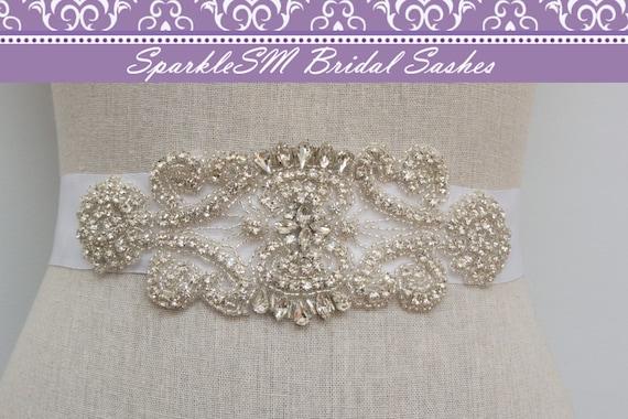 Wedding Sash, Bridal Belt, Satin Bridal Sash, Crystal Rhinestone Beaded Applique, Couture Bridal Sash, SparkleSM Bridal Sash - Marissa