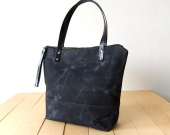 Waxed Canvas Tote in Black - Black Leather Handles - Black Lining - Shoulder Bag - Handbag - Men Bag - Men Tote