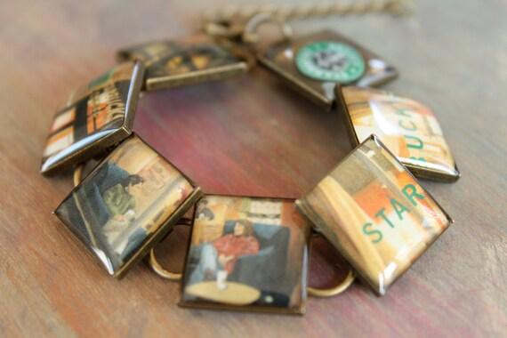 Resin Jewelry, Recycled jewelry, Starbucks Jewelry, custom bracelet, Upcycled, recycled (celebrate date night)