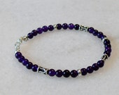 Amethyst bracelet with sterling silver and Bali accents for ladies