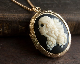 Lolita Skull Cameo Lip Balm Locket Necklace  - Victorian Gold or Silver - Choose Your Flavor - Mint Strawberry Vanilla Buttercream