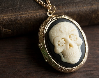 Sugar Skull Perfume Locket Necklace with Solid Scent - Victorian Gold or Silver - Choose Your Scent