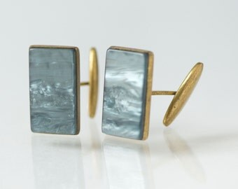 Vintage Men's Cufflinks, Grey Stone Imitation Cufflinks, Groom Cufflinks, Mid Century Jewelry, Anniversary Gift