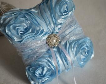 Light blue ring pillow with glitter tulle-pearl brooch, rosette pillow, ring bearer pillow, ring cushion
