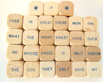 Vintage Wooden Word Dice Game Pieces Altered Art Photo Prop