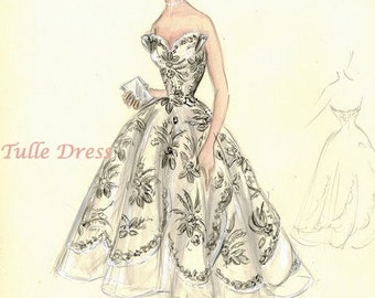 Dior Vintage Fashion Illustration Collection of 4 Sketches in color (various images and sizes)